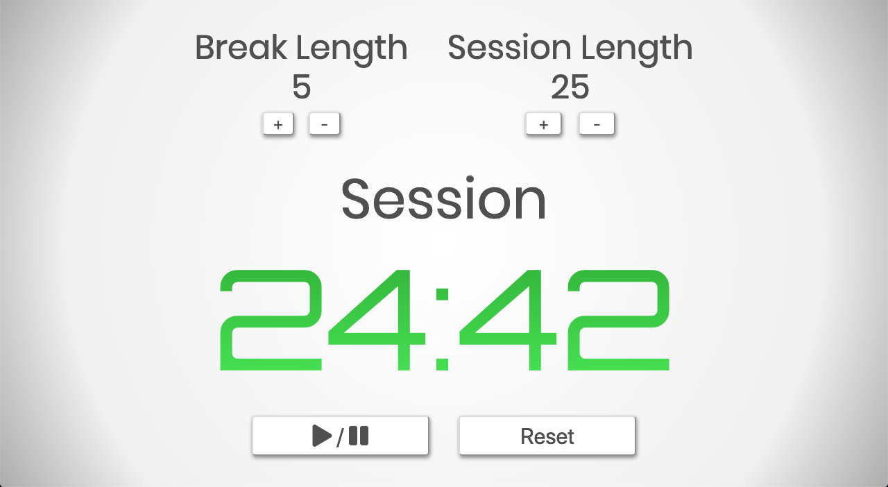 Screenshot of React Pomodoro Clock App